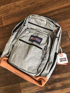 New JanSport Cool Student Laptop Backpack -- Gray & Leather