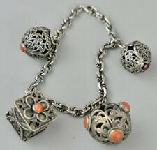 Antikes Trachtenschmuck Armband mit 4  Filigran- Anhänger, Koralle, Silber 800