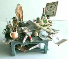 WICCA ALTAR / RITUAL SUPPLY TABLE Halloween miniature prop altered art OOAK