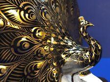 Herend Figurine - Peacock - Special Black Porcelain w / Gold Fishnet