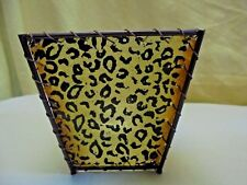 NEW Leopard Print Safari Style Shade Screen Votive Candle Holder W/ Tea Light