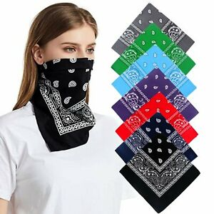100% Cotton Bandana Scarves Paisley Head Face Mask Wrap Scarf