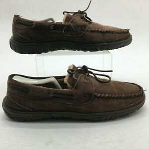 Clarks Mens 12M Rudy Moccasin Slippers Slip On Comfort Shoes Brown Suede JMH0779