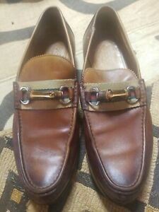Men's GUCCI 'Bamboo Horsebit' Brown Leather Loafers Size US 9.5 GUCCI 9.5