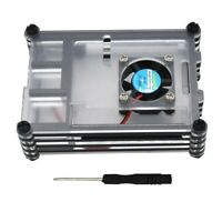 Geekteches Acrylic Clear & Black Case with Cooling Fan for Raspberry Pi 4 M K7E9