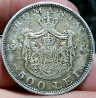Romania 1944 Silver 500 Lei  Mihai I.