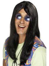 Black Long Hippie Wig 1960s 70's Ladies Mens Fancy Dress Hippy Wigs