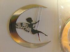 Abbellimenti Die Cut FATA SU ALTALENA + Half Moon Silver Mirror CARD Qtà 8