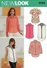 NEW LOOK SEWING PATTERN MISSES' BUTTON FRONT SHIRT SIZE 4 - 18  6266