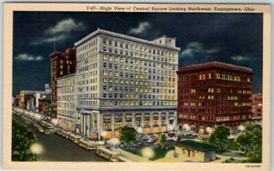 "Youngstown, Ohio Postcard ""Night View of Central Square, Northwest"" Linen c1940s"