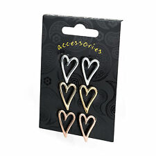 3 Pair Heart Design Stud Earrings Gold Silver Rose Gold Colour Fashion Jewellery