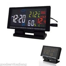 Car Voltage Clock Thermometer Hygrometer Weather Forecast Measure Tool Digital