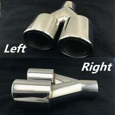2x Chrome Dual Exhaust Tip Stainless Steel Car Muffler Tail Pipe 63mm 2.5