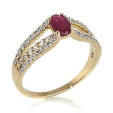 VICTORIA WIECK 0.83CT RUBY AND WHITE ZIRCON 14K YELLOW GOLD RING SIZE 6 HSN $499