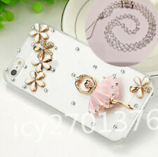 Bling Diamonds Soft Back TPU Phone Cases Covers and Crystals strap for Samsung S