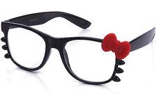 Gafas De Lente Claro Marco Negro brillante arco y bigotes acentos de goma mate