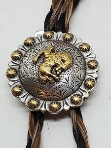 Vtg Braided Horsehair Bronco Rider Cowboy Handmade Western Bolo Tie Necklace