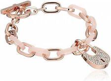 Michael Kors MKJ4888791 MK Rosegold Tone Acrylic Padlock Bracelet Agsbeagle