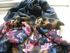 E169 Navy Blue Pink Animal Print Floral Multi Lightweight Ladies Scarf Pashmina