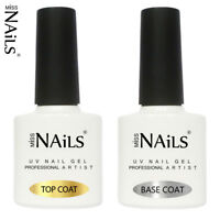 Miss Nails TOP and BASE COAT UV LED Nail Gel Soak Off Polish NO WIPE MATTE 10ml