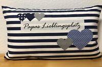 Landhausstil Kissen*Kissenbezug+Kissen Papas Lieblingsplatz blau/weiß 30x50cm