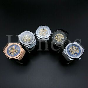 45 MM Movement Skeleton Automatic Rubber Strap Classic Fusion Big Bang Blue Dial