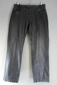 G.T.H CLASSIC BLACK LEATHER BIKER JEANS: WAIST 38 INCHES/INSIDE LEG 33 INCHES