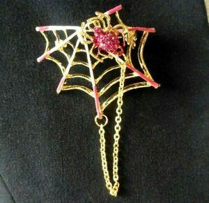 Spider web brooch gold plate enamel pink rhinestone vintage style pin gift box