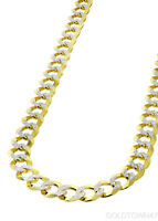 Cuban in 14kt Yellow  Gold White Pave en's Link Chain 6.5mm -7.5mm and 8.5mm