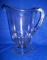 VINTAGE CLEAR HEAVY EAPG GLASS PEDESTAL PITCHER