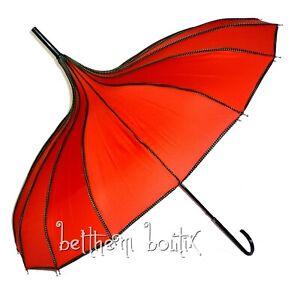 Goth : Parapluie ou Ombrelle Pagode ROUGE liserés à Pois Victorien Gothique