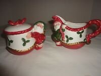 Vintage Fitz and Floyd Red Christmas Elves Creamer Pitcher & Sugar Bowl Set 1989