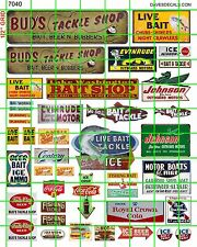7040 DAVE'S DECALS VINTAGE LIVE BAIT TACKLE SHOP FISHING BOATING BOAT MOTORS ETC