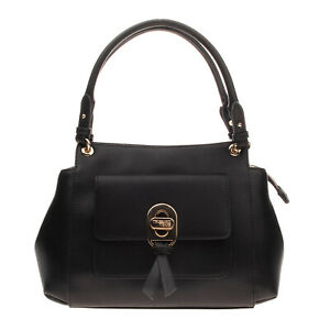 RRP €120 TRUSSARDI JEANS Eco Leather Tote Bag Detachable Strap Zip Closure