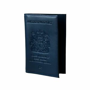 UK Passport Cover Holders British Real Leather Navy Blue Wallet Brexit
