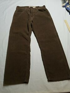 Levis 569 Loose Straight Brown Corduroy Pants Jeans Red Tab 34X30 Casual Modern