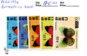 BUTTERFLIES INSECTS RARE 1992 SURCHARGE PERU MNH