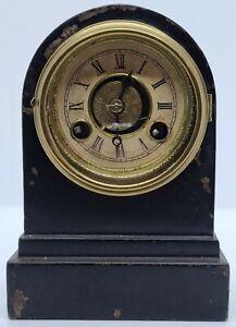 Antique Working 1860s TERRY Mini Mechanical Black Iron Victorian Alarm Clock USA