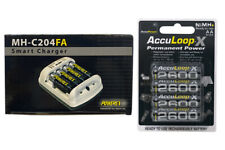 Powerex MH-C204FA Charger & 4 x AA NiMH AccuPower AccuLoop-X Batteries 2600 mAh