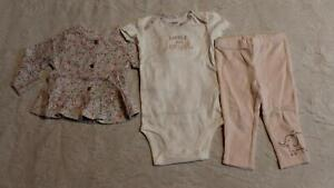 Carter's Girl's 3 Piece Floral Bodysuit And Pants With Cardigan SV3 Pink Size 6M