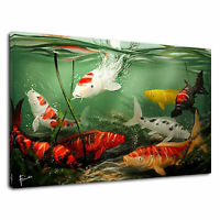 Koi Carp Fish Japanese Fish Tank Red Aquarium Canvas Wall Art Picture Print