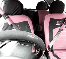 15pc Pink RS Racing Car Seat Cover Steering Wheel Floor Mats Seat Belt Pads Set