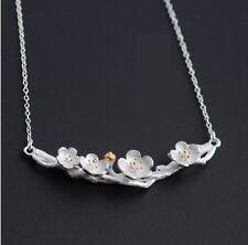 Sterling Silver Sakura Blossom Pendant Necklace Branch Chain Flower Gift Box S5