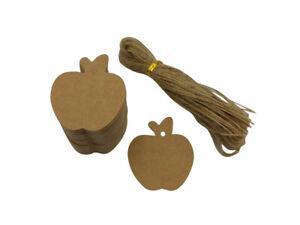 100 x Apple - Natural Kraft Card - Gift Tag - Jute Tie