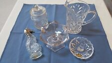 Vintage 5 Piece Glass Lot/Pitcher Trinket  Candy Ring Dish Sea Horse Figurine