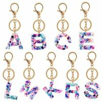 New Letter Acrylic Colorful Keychain Bag Pendant Transparent Charm Women Gifts