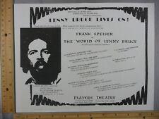 Rare Orig VTG Frank Speiser Lenny Bruce Players Theatre Flyer Advertising Print