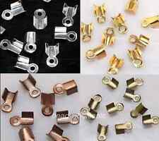 500 Fold Over End Cord Crimp Bead Cap 6/9mm For Jewelry Accessories U Pick Color