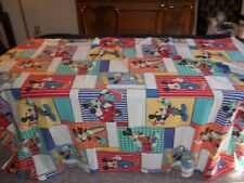 Vtg 1990's Disney Mickey Mouse Cool Hip-Hop Twin Size Flat Bed Sheet Great Color