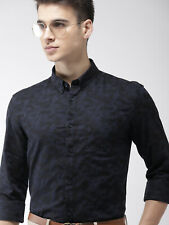 Shirt Indian Terrain Men Navy Blue Slim Fit Printed Casual long sleeves
